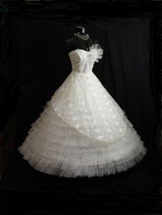 Vintage 50's 50s STRAPLESS Bombshell White Tulle by VintageVortex, $499.99
