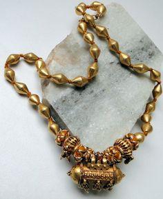 vintage antique ethnic tribal 22 karat gold beads necklace jewellery jewelry  -6158. $1,800.00, via Etsy.