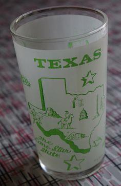 Vintage 1960s Texas souvenir drinking glass by retrowarehouse, $12.00