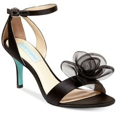 Blue by Betsey Johnson Maddi Evening Sandals ($99) ❤ liked on Polyvore featuring shoes, sandals, black satin, black ankle strap sandals, black shoes, betsey johnson sandals, ankle strap sandals and black sandals