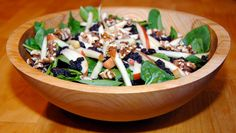 spinach salad with apples, currants and walnuts | elana's pantry (substitute apple cider vinegar for balsamic vinegar to make GAPS legal)