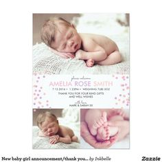 New baby girl announcement/thank you card A5 13 Cm X 18 Cm Invitation Card