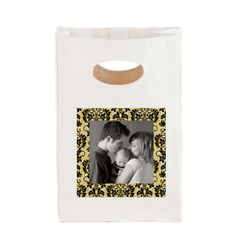 Custom Photo Damask Frame Canvas Lunch Tote  Beautiful beige and black damask frame, add your favorite photo  $15.59
