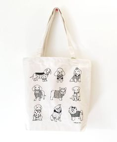 Image of Puppies Printed Tote Bags, Canvas Tote Bags, Jute, Stamp Printing, Hand Embroidery Designs, Shopper Bag, Bag Making, Pouch, Reusable Tote Bags