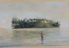 """""""Spearing Fish, Samoa,"""" John La Farge, ca. 1892-1893, watercolor and opaque watercolor on paper, 16 3/8 x 23 3/4"""", Addison Gallery of American Art."""