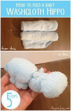 How to make a baby washcloth hippo in just 5 easy steps. These are so adorable and tiny! Simple tutorial on how to fold a baby washcloth hippo with lots of pictures to walk you through. They make perfect baby shower decorations and gifts! Décoration Baby Shower, Cadeau Baby Shower, Baby Shower Gifts, Homemade Gifts, Diy Gifts, Towel Origami, Towel Animals, How To Fold Towels, Baby Washcloth