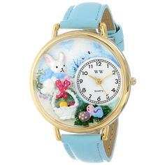 Whimsical Unisex Easter Eggs Baby Blue Leather Watch. #Easter #Eastereggs #babyblue