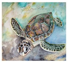 Just Swim sea turtle watercolor painting by LoveJoyPeaceDesigns