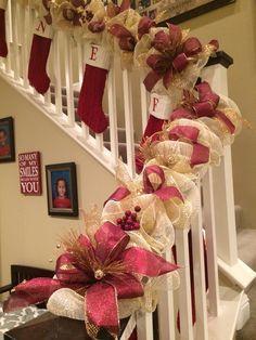 Christmas Garland, garland, deco mesh garland, Christmas swag, swag by WonderfulWreathsKim on Etsy https://www.etsy.com/listing/247219118/christmas-garland-garland-deco-mesh