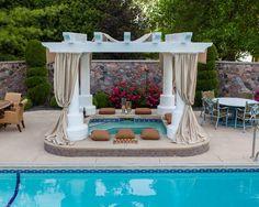 elegant backyard hot tub
