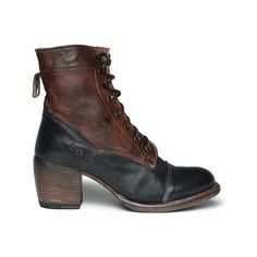 Women's Bed Stu Oath - Black/Teak Rustic Leather Ankle Boots ($198) ❤ liked on Polyvore featuring shoes, boots, ankle booties, black, black booties, black lace up boots, leather booties, block heel booties and black leather boots