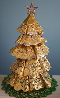 Christmas tree from paper doilies.