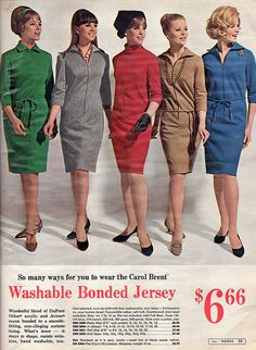 Five stylish 1966 Washable Jersey Dresses. - bridemaids