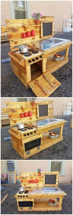 If you want to arrange an outdoor kitchen location then setting the designing of mud kitchen with the wood pallet use over it is surely one of the fabulous ideas. Check out how creatively the mud kitchen wood pallet art work has been implicated in this Wood Pallet Art, Pallet Furniture, Wood Pallets, Furniture Ideas, Garden Furniture, Wood Art, Woodworking Furniture, Outdoor Kitchen Countertops, Kitchen Wood