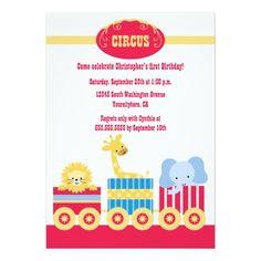 Train Birthday Party Invitations Children's circus train birthday party invitation