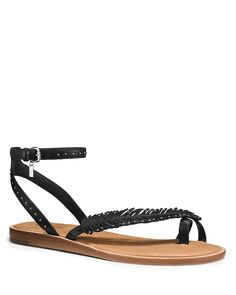 COACH Beach Studded Feather Flat Sandal | Bloomingdale's
