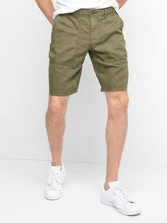 Gap Mens Linen-Cotton Utility Shorts Army Jacket Green