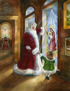This is from Brenda Harris Tustian in Atlanta called LOVE'S PURE LIGHT. I have about 5 of her paintings...All her Santa paintings tell a story with things that are incorporated into the picture!!!