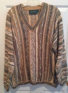 Tundra Canada sweater mens LARGE mercerized cotton brown green stripes #Tundra #Crewneck
