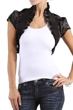 New Cropped Sleeves Ruffle Stretch Shrug Bolero Jacket