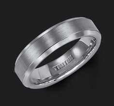 6mm Bevel Edge Tungsten Carbide comfort fit Band with center satin finish and bright polished edge