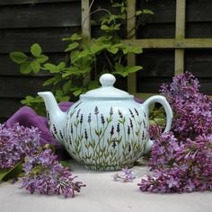 Pottery Painting Designs, Paint Designs, Pottery Teapots, Earthenware Clay, Moroccan Design, All Things Purple, Chocolate Pots, Lavender Flowers, Hand Painted Ceramics