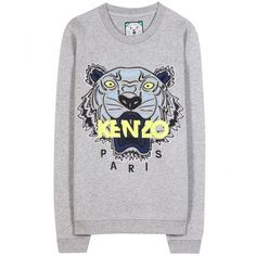Kenzo Embroidered Cotton Sweatshirt (315 CAD) ❤ liked on Polyvore featuring tops, hoodies, sweatshirts, sweaters, jumpers, kenzo, shirts, grey, embroidery shirts and embroidered cotton top