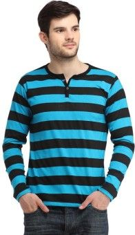 Bigidea Striped Men's Henley Blue, Black T-Shirt