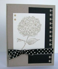 Stampin' Up! ... handmade card from Scrappin' and Stampin' in GJ ... hydrangea  ... kraft with black and cream ...