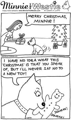 Westie cartoon: Never say no to a pawresent!