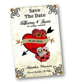Sugar Skull Wedding   Tattoo Style   Rockabilly   Day Of The Dead   Cinco  De Mayo Wedding Save The Date Invitation