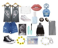 """""""Shopping w/bestie🛍👭"""" by isabellerivette on Polyvore featuring rag & bone, Converse, Lime Crime, Essie, Marc Jacobs, Kate Spade, Glamorous, MICHAEL Michael Kors and Anastasia Beverly Hills"""