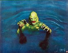 creature of black lagoon Classic Monster Movies, Classic Horror Movies, Classic Monsters, Swamp Creature, Horror Pictures, Horror Pics, Monster Fishing, Famous Monsters, Legendary Monsters