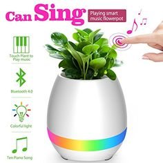 Music Flowerpot Smart Bluetooth Speaker Playing Touch Piano Music with LED Colorful Night Light Round Plant Pots for Home Decor White -- Check out the image by visiting the link. (This is an affiliate link) Wireless Speakers For Home, Som Bluetooth, Music Speakers, Touch Lamp, Light Touch, Music Flower, Plastic Flower Pots, Home Decor Vases, Living Room White