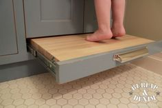 Built in Vanity Stool for kids to reach the sink -Home Decor