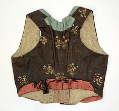 Hand stitched 18th century sleeveless spencer. Back view.