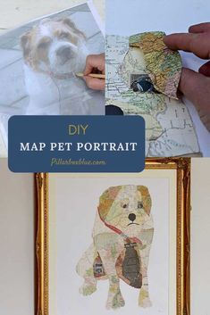Make some gorgeous unique map art by immortalizing your pet in a map portrait. Step by step tutorial. Map Crafts, Unique Maps, Great Hobbies, Unique Animals, Upcycled Crafts, Us Map, Map Art, Decoration, Pet Portraits
