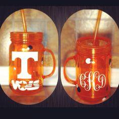 Tennessee VOLS Football Mason Jar Mug by CaseyKnoxville on Etsy