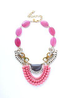 Pink Jade & Crystal Statement Necklace