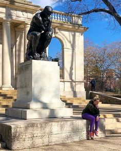 Thoughts too deep to go work em out with a therapist  | The Thinker aka The Poet (Auguste Rodin) can be found along Ben Franklin Parkway outside the Rodin Museum in Philadelphia. I may or may not also strike this pose when trying to get some writing done. Howd I do?