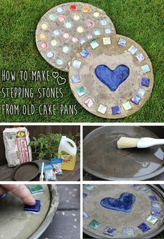 Such a great upcycle project! Use old cake pans to make beautiful stepping stones for your lawn or garden!