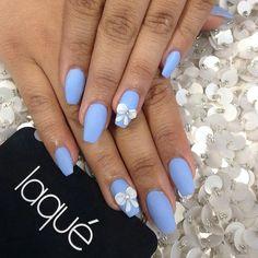 Powder blue matte nails