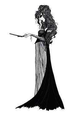 A beautifully gothic drawing of Bellatrix Lestrange: truly amazing