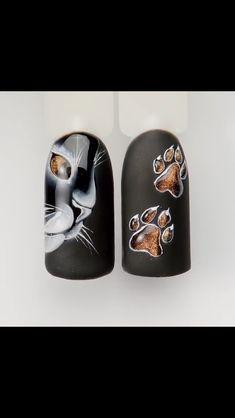 Dog Nail Art, Animal Nail Art, Cat Eye Nails, Dog Nails, French Manicure Nail Designs, Black Acrylic Nails, Nail Art Designs Videos, Nail Tutorials, Trendy Nails