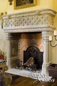 An antique reclaimed French limestone fireplace. Rustic French ...