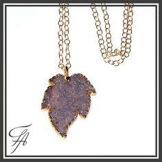 Leaf Druzy Pendant Necklace Stone Necklace Handmade
