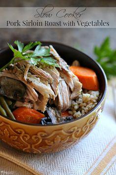Slow Cooker Pork Sirloin Roast with Vegetables http://www.cozycountryliving.com/slow-cooker-pork-sirloin-roast/