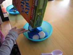 Bottle Top Breakfast....Yum!!  Can also use in dramatic play as eggs, pancakes, etc. in pots and pans