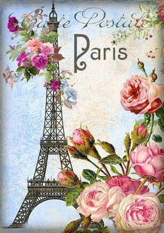 Paris postale with roses and Eiffel tower. Decoupage Vintage, Decoupage Paper, Images Vintage, Vintage Pictures, Vintage Paris, Vintage Roses, Vintage Labels, Vintage Postcards, Etiquette Vintage