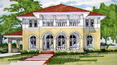 Mediterranean House Plan with 3154 Square Feet and 4 Bedrooms(s) from Dream Home Source | House Plan Code DHSW32691